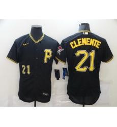 Men Pittsburgh Pirates 21 Roberto Clemente Black Stitched MLB Flex Base Nike Jersey