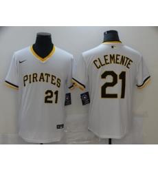 Men Pittsburgh Pirates Roberto Clemente 21 White Mesh Batting Practice Throwback Pullover Nike Jersey
