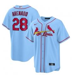 Men St.Louis Cardinals 28 Nolan Arenado Light Blue Nike Cool Base Jersey