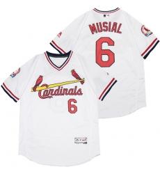 Men St.Louis Cardinals 6 Stan Musial White Flexbase Jersey