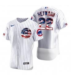 Men Chicago Cubs 22 Jason Heyward Men Nike White Fluttering USA Flag Limited Edition Flex Base MLB Jersey