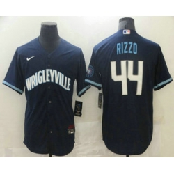 Men Chicago Cubs 44 Anthony Rizzo Navy Blue 2021 City Connect Stitched MLB Cool Base Nike Jersey
