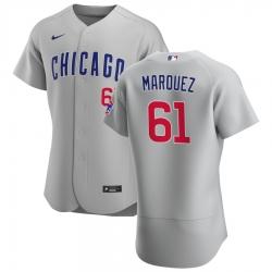 Men Chicago Cubs 61 Brailyn Marquez Men Nike Gray Road 2020 Flex Base Team Jersey