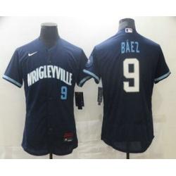 Men Chicago Cubs 9 Javier Baez Navy Blue 2021 City Connect Stitched MLB Flex Base Nike Jersey