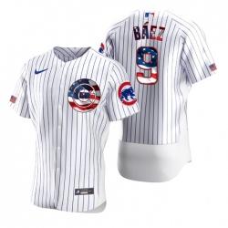 Men Chicago Cubs 9 Javier Baez White USA Flag Fashion Nike Cool Base Jersey