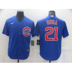 Men Nike Chicago Cubs Sammy Sosa 21 Authentic Royal Blue Cool Base Jersey