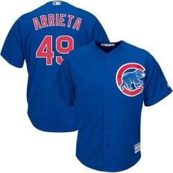 Men's Chicago Cubs Jake Arrieta #44 Royal Blue Cool Base Jersey