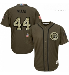 Mens Majestic Chicago Cubs 44 Anthony Rizzo Replica Green Salute to Service MLB Jersey