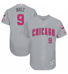 Mens Majestic Chicago Cubs 9 Javier Baez Grey Mothers Day Flexbase Authentic Collection MLB Jersey