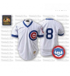 Mens Mitchell and Ness Chicago Cubs 8 Andre Dawson Authentic WhiteBlue Strip Throwback MLB Jersey