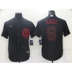 Men's Nike Chicago Cubs Javier Baez 9 Black Red Outline Stitched Baseball Jersey