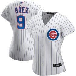 Chicago Cubs 9 Javier Baez Nike Women Home 2020 MLB Player Jersey White