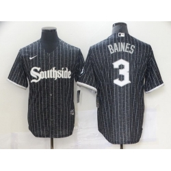 Men Chicago White Sox 3 Harold Baines Black 2021 City Connect Stitched MLB Cool Base Nike Jersey