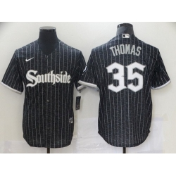 Men Chicago White Sox 35 Frank Thomas Black 2021 City Connect Stitched MLB Cool Base Nike Jersey