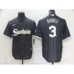 Men's Chicago White Sox #3 Harold Baines Replica Black Alternate Home Cool Base Jersey