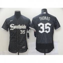 Men's Chicago White Sox #35 Frank Thomas Authentic Black Fashion Baseball Jersey