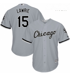 Mens Majestic Chicago White Sox 10 Yoan Moncada Replica Grey Road Cool Base MLB Jersey