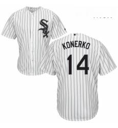 Mens Majestic Chicago White Sox 14 Paul Konerko Replica White Home Cool Base MLB Jersey