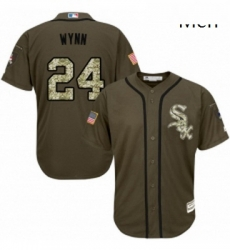 Mens Majestic Chicago White Sox 24 Early Wynn Authentic Green Salute to Service MLB Jersey