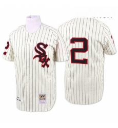 Mens Mitchell and Ness 1959 Chicago White Sox 2 Nellie Fox Replica Cream Throwback MLB Jersey
