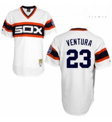 Mens Mitchell and Ness 1983 Chicago White Sox 23 Robin Ventura Replica White Throwback MLB Jersey