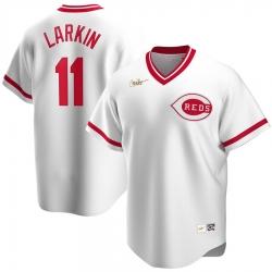 Men Cincinnati Reds 11 Barry Larkin Nike Home Cooperstown Collection Player MLB Jersey White