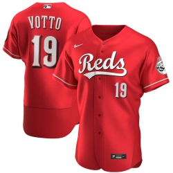 Men Cincinnati Reds 19 Joey Votto Men Nike Scarlet Flex Base Alternate Player MLB Jersey