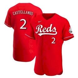 Men Cincinnati Reds 2 Nick Castellanos Scarlet 2021 Alternate Jersey