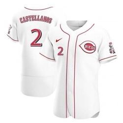 Men Cincinnati Reds 2 Nick Castellanos White 2021 Home Player Jersey
