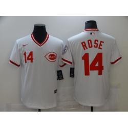 Men Nike Cincinnati Reds 14 Pete Rose White 1976 Throwback Jersey
