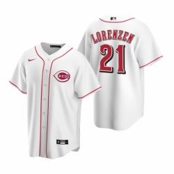 Mens Nike Cincinnati Reds 21 Michael Lorenzen White Home Stitched Baseball Jerse