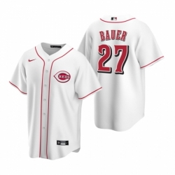 Mens Nike Cincinnati Reds 27 Trevor Bauer White Home Stitched Baseball Jersey