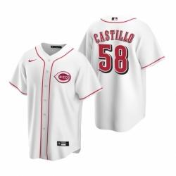 Mens Nike Cincinnati Reds 58 Luis Castillo White Home Stitched Baseball Jersey
