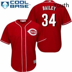 Youth Majestic Cincinnati Reds 34 Homer Bailey Replica Red Alternate Cool Base MLB Jersey