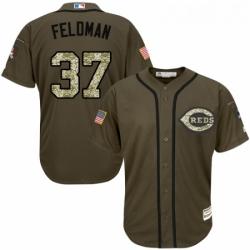 Youth Majestic Cincinnati Reds 37 Scott Feldman Authentic Green Salute to Service MLB Jersey
