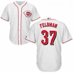 Youth Majestic Cincinnati Reds 37 Scott Feldman Replica White Home Cool Base MLB Jersey