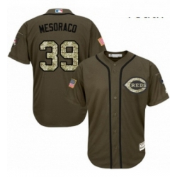 Youth Majestic Cincinnati Reds 39 Devin Mesoraco Authentic Green Salute to Service MLB Jersey