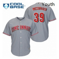 Youth Majestic Cincinnati Reds 39 Devin Mesoraco Authentic Grey Road Cool Base MLB Jersey