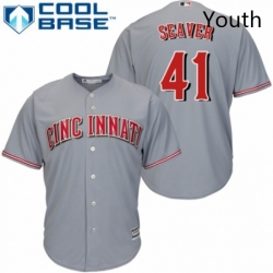 Youth Majestic Cincinnati Reds 41 Tom Seaver Authentic Grey Road Cool Base MLB Jersey