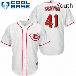 Youth Majestic Cincinnati Reds 41 Tom Seaver Authentic White Home Cool Base MLB Jersey
