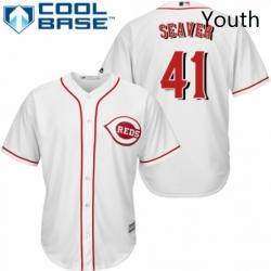 Youth Majestic Cincinnati Reds 41 Tom Seaver Replica White Home Cool Base MLB Jersey