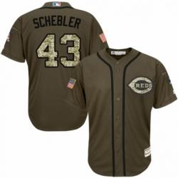 Youth Majestic Cincinnati Reds 43 Scott Schebler Authentic Green Salute to Service MLB Jersey