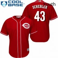 Youth Majestic Cincinnati Reds 43 Scott Schebler Replica Red Alternate Cool Base MLB Jersey