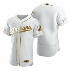 Cleveland Indians Blank White Nike Mens Authentic Golden Edition MLB Jersey
