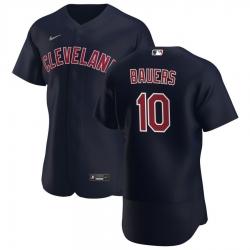 Men Cleveland Indians 10 Jake Bauers Men Nike Navy Alternate 2020 Flex Base Player MLB Jersey