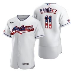 Men Cleveland Indians 11 Jose Ramirez Men Nike White Fluttering USA Flag Limited Edition Flex Base MLB Jersey