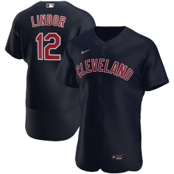 Men Cleveland Indians 12 Francisco Lindor Men Nike Navy Alternate 2020 Flex Base Player MLB Jersey