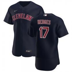 Men Cleveland Indians 17 Austin Hedges Men Nike Navy Alternate 2020 Flex Base Player MLB Jersey