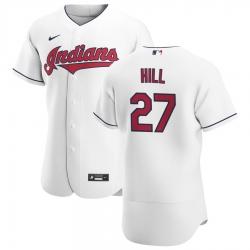 Men Cleveland Indians 27 Cam Hill Men Nike White Home 2020 Flex Base Team MLB Jersey