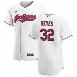 Men Cleveland Indians 32 Franmil Reyes Men Nike White Home 2020 Flex Base Team MLB Jersey